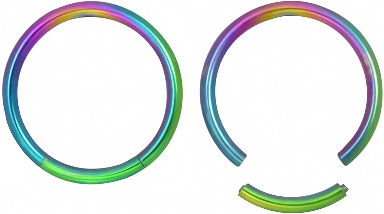Set of 2: 16G 11 mm (7/16) Easy Use 316L Surgical Steel Titanium Rainbow IP Segment Hoop Ring 11 16 661111