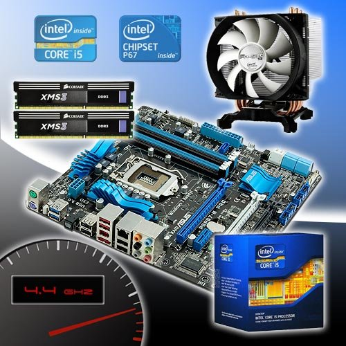 Intel i5 2500k @ 4.4GHz, Asus P8P67-M PRO REV 3, Corsair 8GB DDR3 1600MHz Overclocked Bundle BU56OC
