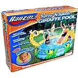 "Banzai Spray 'N Splash Series Swimming Pool - GIRAFFE POOL with Inflatable Giraffe Slide, Built-In Sprinkler and 1 Repair Patch (Pool Diameter: 58"")"