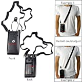 Lsgoodcare Black Hard Leather Carrying Holder Holster Case with Adjustable Shoulder Strap Compatible for 2 Way CB Ham Radio CP200 CP040 GP3688 GP3188 CP150 EP450 Walkie Talkie