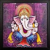 PAF Ganesh Modern Art Print UV Textured Framed Painting(Wood, 35 Cm X 2 Cm X 35 Cm, Special Blue Textured UV Reprint)