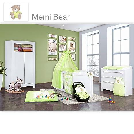 Babyzimmer Felix in weiss 21 tlg. mit 2 turigem Kl + Memi Bear in Grun
