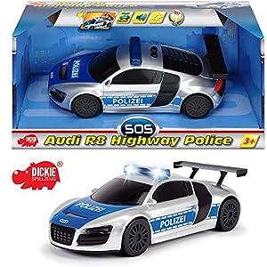 Dickie Polizei Fahrzeug mit Rückzugsmotor, Licht und Sound, ca. 19 cm || Spielzeug Einsatzwagen Auto Polizeiwagen Streifenwagen Soundfunktion