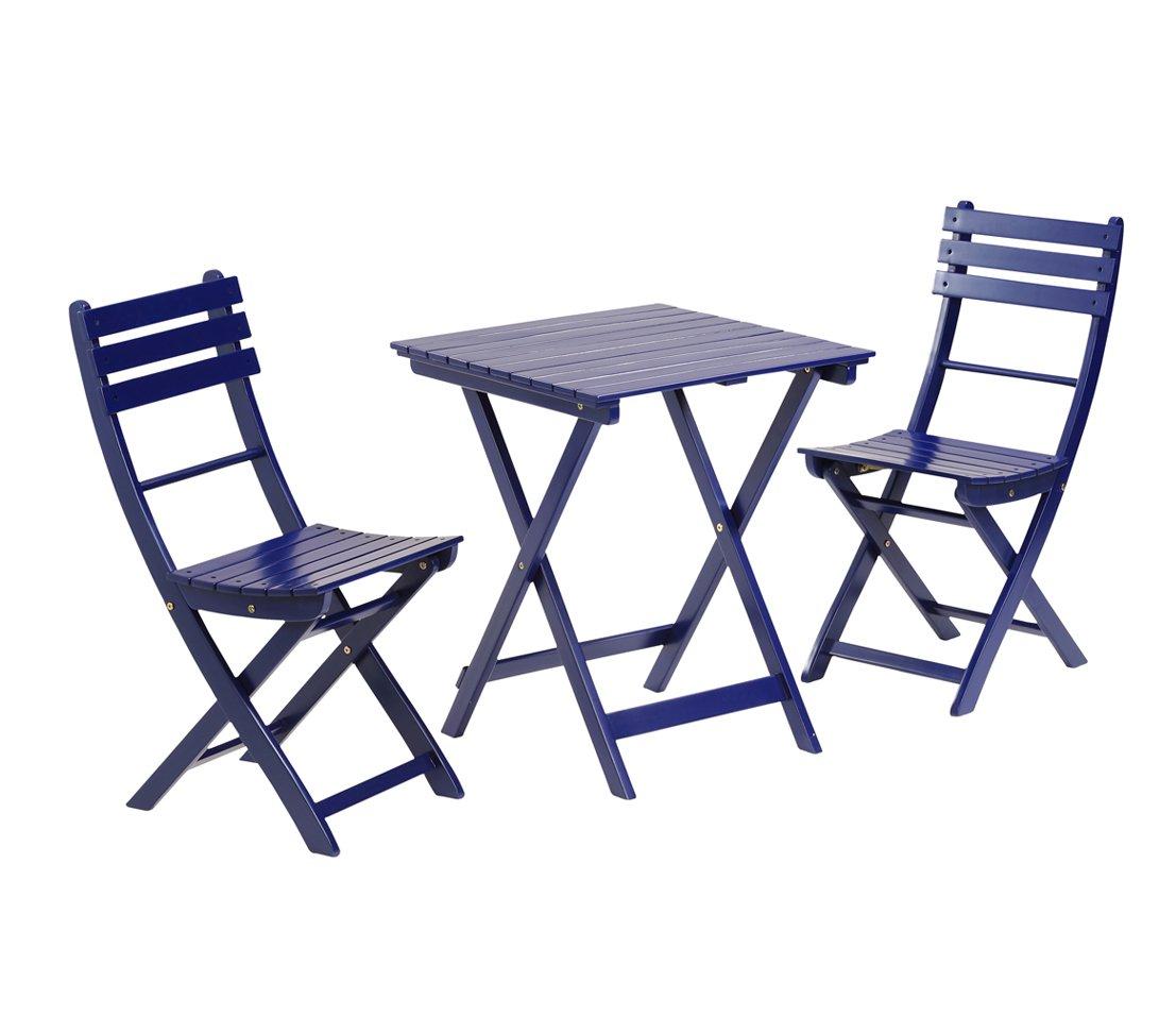 Dehner Balkonset Provence, Tisch ca. 60 x 60 x 71 cm, 2 Stühle je ca. 40 x 50 x 86 cm, FSC Akazienholz, blau