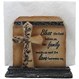 Decorative Stone Look Holy Cross with Special Blessing Napkin Holder in Religious, Spiritual and Christian Decor Sculptures for Dining Room or Kitchen Table Decorations As Inspirational Gifts