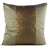 Shaun Design Dupion Silk 1 Embroidered Cushion Cover - Golden Green, 35 Cm X 35 Cm