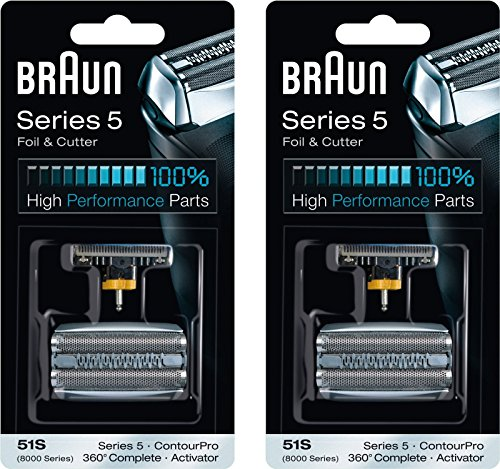 BRAUN 51S 8000 Series 5 360 Complete Activator ContourPro Shaver Foil & Cutter Head Replacement Pack, 2 Count (Braun 8000 Foil compare prices)