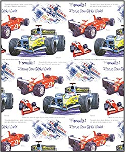Little Snoring Gifts: Gift Wrap - Single 70 x 50cm Sheet (Formula 1 Design) from Little Snoring Ltd