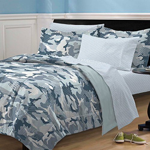 My Room Geo Camo Camouflage Comforter Set, Blue, Twin