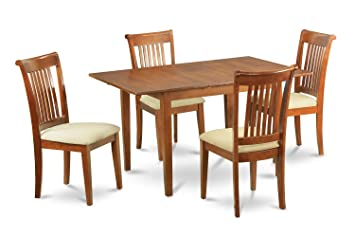 East West Furniture PSPO5-SBR-C 5-Piece Kitchen Table Set
