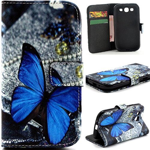 S3 Case, Galaxy S3 III i9300 Flip Case,Gift_Source [Stand Feature] Case Wallet [Wallet S] Premium Wallet Case Flip Cover for Samsung Galaxy S3 III i9300 - Blue Butterfly Pattern +1 X Screen Protector and Stylus Pen (Galaxy 3 Phone Cases Wallet compare prices)