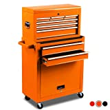 High Capacity 8-Drawer Rolling Tool Chest with Wheels and Drawers,Tool Storage Cabinet,Detachable Organizer Tool Box Combo,Mobile Lockable Toolbox for Workshop Mechanics Garage (Color: Orange)