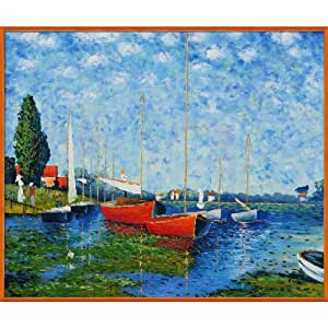 overstockart mon1022 fr 117 23520x24 claude monet red boats at argenteuil with studio tangerine. Black Bedroom Furniture Sets. Home Design Ideas