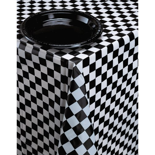 Creative Converting Plastic Banquet Table Cover, Black Check
