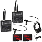 Tascam DR-10L Portable Digital Studio Recorder w/Lavaliere Microphone + 32GB Audio Bundle (2 Pack)