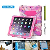 ACEGUARDER Apple Ipad Air Ipad 5 Case Waterproof Rainproof Shockproof Kids Proof Case for Ipad 5 (Gifts Outdoor Carabiner + Whistle + Handwritten Touch Pen) (Aceguarder Brand) (PINK CAMO/ROSE)