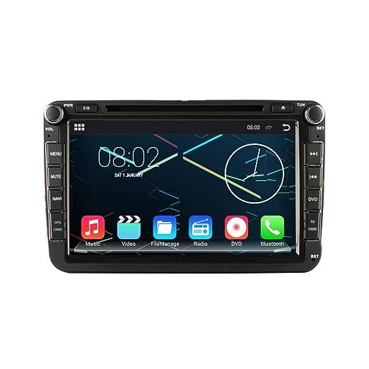 Android 4.4 Autoradio DVD GPS Système de Navigation Lecteur DVD Voiture Stéréo 1024*600 avec 8 pouces Ecran Tactile HD Capacitif 16 Go WIFI OBD2 commande à Volant pour VW Volkswagen Passat B6 / B7 / Passat CC / Polo / Golf / Ca