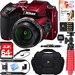 Nikon COOLPIX B500 16MP 40x Optical Zoom Digital Camera w/ Built-in Wi-Fi NFC & Bluetooth (Red) + 64GB SDXC Accessory Bundle