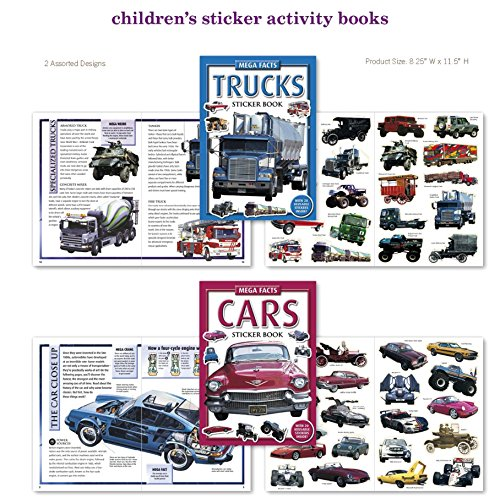 Car, Truck, Tractor, Stickers 2 Sticker Activity Books 40 Stickers w/ Amazing Car Facts Stickers for Kids, Boys, Girls