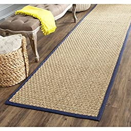 Safavieh Natural Fiber Collection NF114E Natural and Blue Seagrass Runner, 2 feet 6 inches by 6 feet (2\'6\