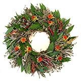 """Safflower and Herb Natural Dried and Preserved Wreath - 16"""""""