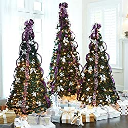 Brylanehome 71/2' Pre-Lit Pop-Up Christmas Tree (Purple Silver,0)