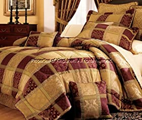 Nice PCS MAROON JEWEL PATCHWORK COMFORTER BED IN A BAG KING Bedding Set Kings price