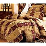 7-Piece Maroon Jewel Patchwork Comforter Set King
