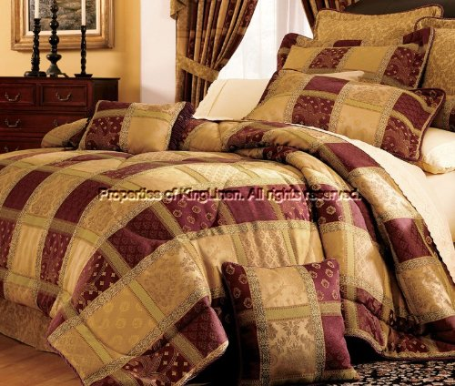 hot hot hot Sale 7 Piece Burgundy Jewel Patchwork Cal King