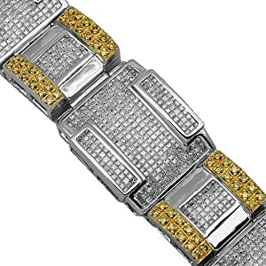 14K White Gold Mens Diamond Hip Hop Bracelet with Yellow Diamonds 28.35 Ctw