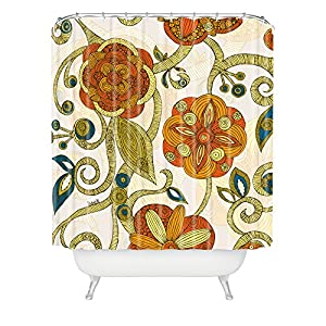 DENY Designs Valentina Ramos Orange Flowers Shower Curtain, 70 by 90""