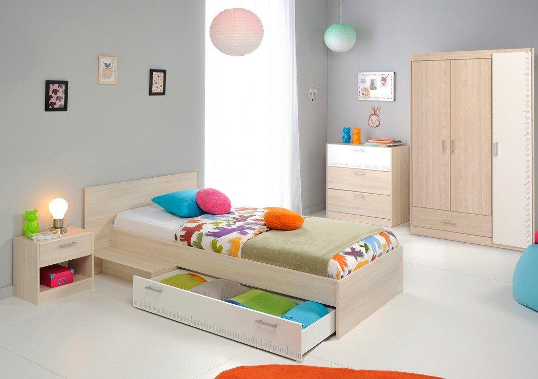 Jugendzimmer Chiron 12 Akazie Nb Jugendbett 90×200 Kinderbett Bett Nachttisch Nako Kommode Kleiderschrank Schrank Kinderzimmer kaufen