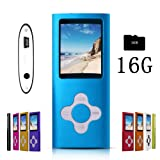 G.G.Martinsen Blue Stylish MP3/MP4 Player with a 16GB Micro SD Card, Support Photo Viewer, Mini USB Port 1.8 LCD, Digital Music Player, Media Player, MP3 Player, MP4 Player (Color: royalblue)