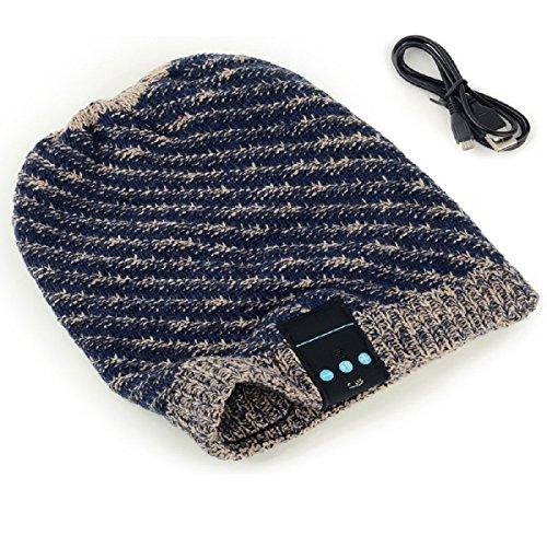 Megadream® Bluetooth Cappello Berretto Invernale cuffia musica estraibile Wrinkle Crochet Baggy Cap altoparlante wireless Bluetooth ricevitore audio MP3lavorato a maglia con auricolari auricolari per dispositivi Bluetooth consentono