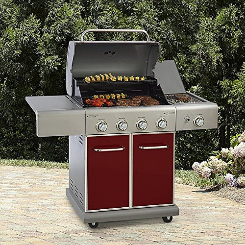 Kenmore 4 Burner LP Gas Grill w/ Searing Side Burner Outdoor Living Cooking, Red (Kenmore Grease compare prices)