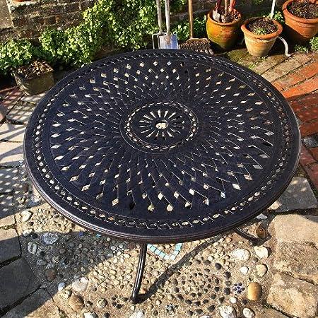 Alice 120cm Rundes Aluminium Gartenmöbelset - 1 ALICE Tisch + 4 JANE Stuhle