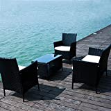 BTM black rattan garden furniture sets patio furniture set garden furniture clearance sale furniture rattan garden furniture set table chairs sofa patio conservatory wicker new(Black)
