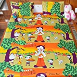 Combo Of 1 Chota Bheem Cotton Double Bedsheet And Chota Bheem Single Dohar With 2 Pillow Covers