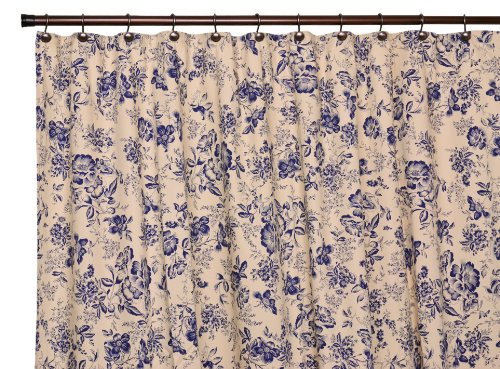 Ellis Curtain Palmer Floral Toile Bathroom Shower Curtain, Navy back-221494