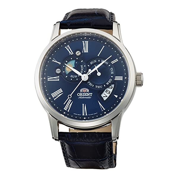 Orient Men's FET0T004D0 Classic Sun and Moon Version 2 Analog Automatic Blue Watch (Color: Blue)