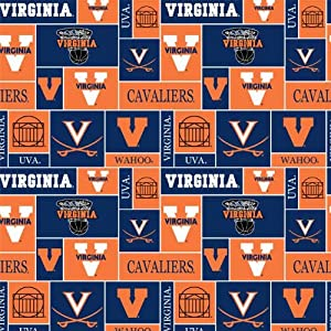 college university of virginia cavaliers 012 print fleece fabric by the yard. Black Bedroom Furniture Sets. Home Design Ideas
