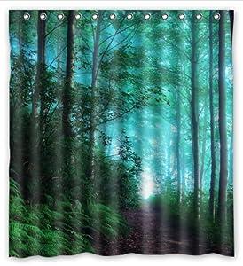Happy shopping go custom green fresh forest - Forest green shower curtain ...