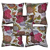Indian Kantha Work Design Cotton Cushion Cover 16 X 16 Inches
