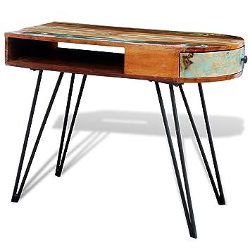 Anself Schreibtisch Arbeitstisch aus Recyceltem Massivholz mit Schublade 97cmx45cmx76cm
