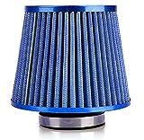 汎用 ステンレス メッシュ フィルター エア クリーナー 吸気 効率 最大化 (ブルー)