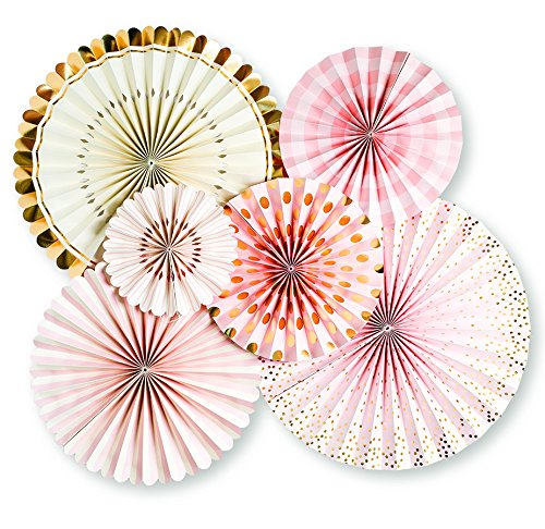 My Mind's Eye Paperlove, Pink, White, Gold Double-Sided Party Fans and Confetti, Set of 6 Fans + 1 Tube of Confetti (Pink Fan Decoration compare prices)