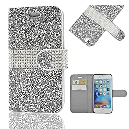 iPhone 6S Plus Case, Seedan Luxury Diamond Clutch Design PU Leather Wallet Purse Case with Card Slots Wrist Strap for iPhone 6S/6 Plus Silver