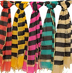 Exotic India Lot of Five Dupattas with Woven Black Stripes - Black