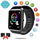 Bluetooth Smart Watch - Smartwatch for Android Phones with SIM Card Slot Camera, Fitness Watch with Sleep Monitor, Pedometer Watch for Men Women Kids Compatible iPhone Samsung LG Huawei HTC Smartphone (Color: black)