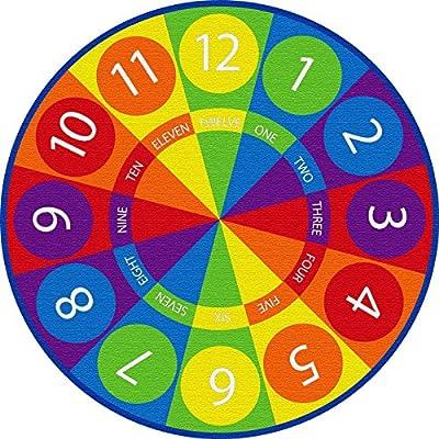 ECR4Kids Tick-Tock Clock Educational Activity Rug,